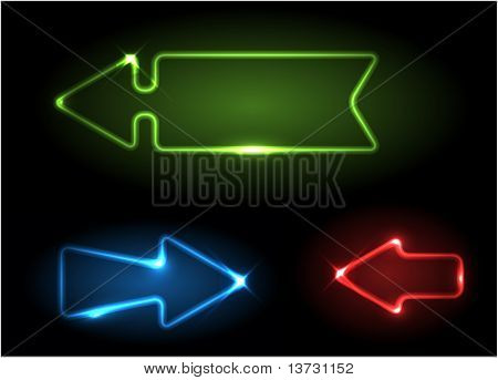 Green, blue and red neon arrows on black background