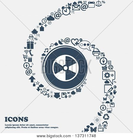 Radioactive Icon In The Center. Around The Many Beautiful Symbols Twisted In A Spiral. You Can Use E