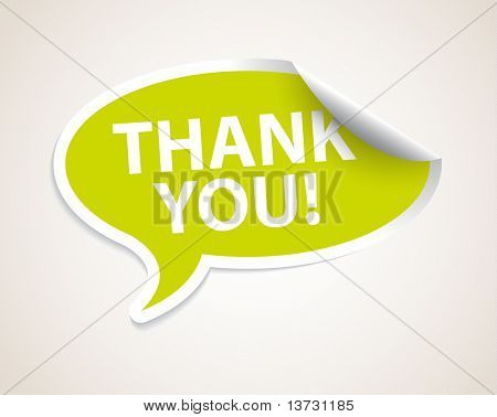 Thank you speech bubble as sticker / label with white border