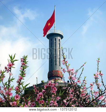 HA GIANG, VIET NAM, January 12, 2016: Lung Cu flagpole, North Pole, Ha Giang province, Vietnam. in the spring