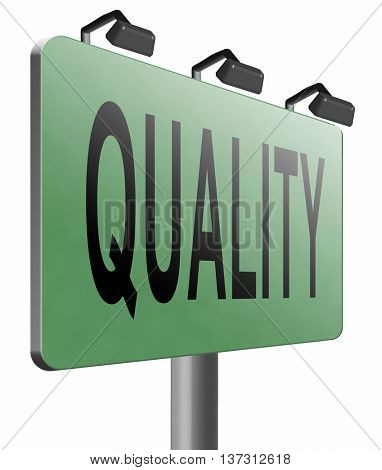Quality control label 100% guaranteed warranty and top product survey icon, 3D illustration, isolated, on white