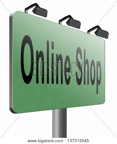 Online shopping internet web shop webshop, road sign billboard, 3D illustration, isolated, on white