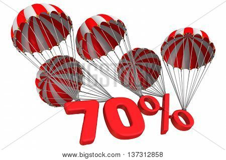 Seventy percent is falling down on parachute. Isolated. 3D Illustration