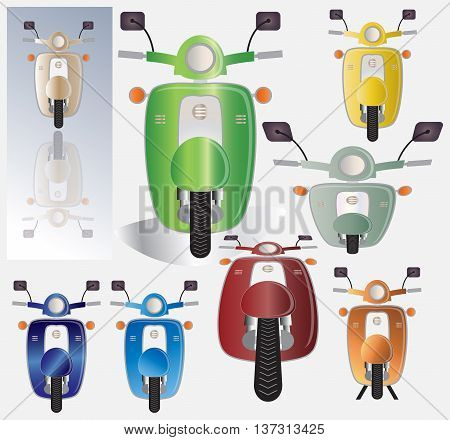 Set of retro scooter motorbike Font view many colour of scooter