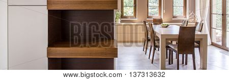 Beautiful Dining Room In Beige And Brown