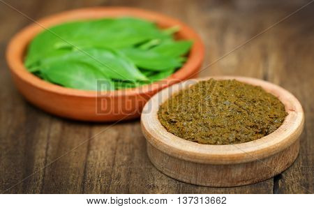 Closeup of some ayurvedic henna leaves with paste