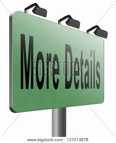 more details learn road sign and extra information billboard, 3D illustration, isolated, on white