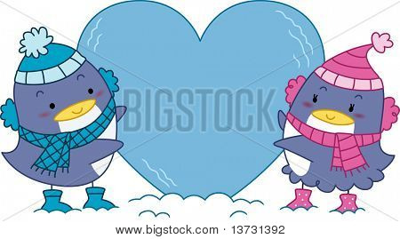 Illustration of a Penguin Couple Hugging a Heart-shaped Block of Ice