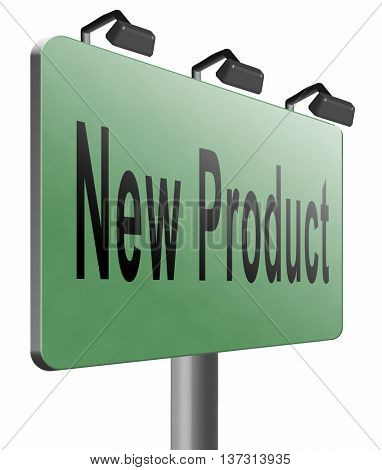 new product coming soon announcement arriving and available soon advertising news, road sign, billboard, 3D illustration, isolated, on white