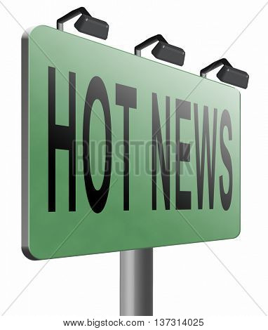 latest hot and breaking news items, 3D illustration, isolated, on white
