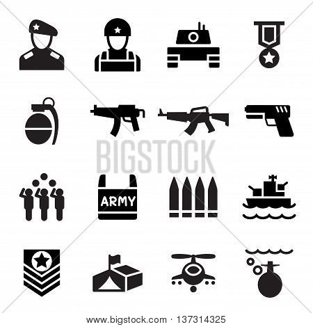 Military Soldier icon set Vector illustration Graphic design