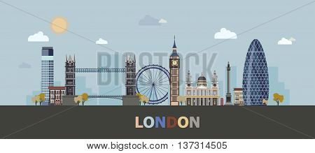 The modern and historic buildings of London in a single composition. Vector illustration.
