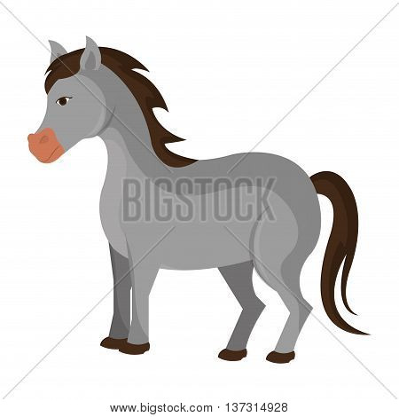 Grey horse animal farm cartoon, isolated icon vector illustration.