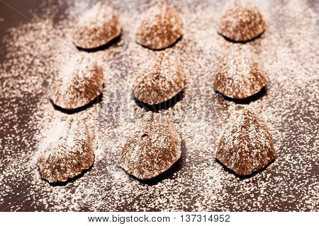 Chocolate Madeleines Lying On A Towel On The Old Table