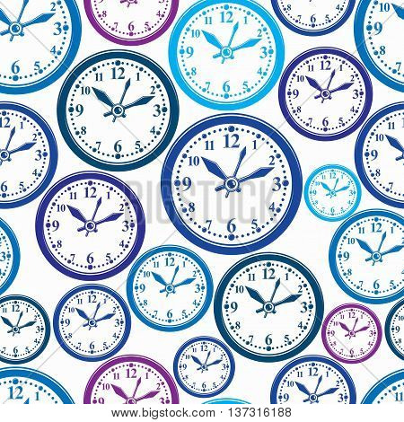 Seamless vector pattern with clocks wake up idea. Simple timers classic stopwatches.