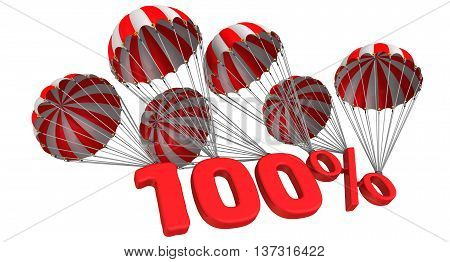 One hundred percent is falling down on parachutes. Isolated. 3D Illustration