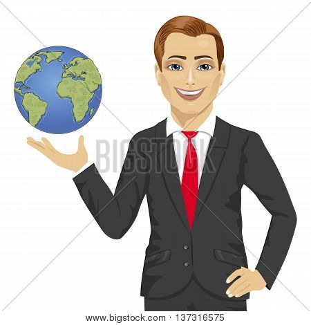 Young businessman holding globe in his hand isolated on white background