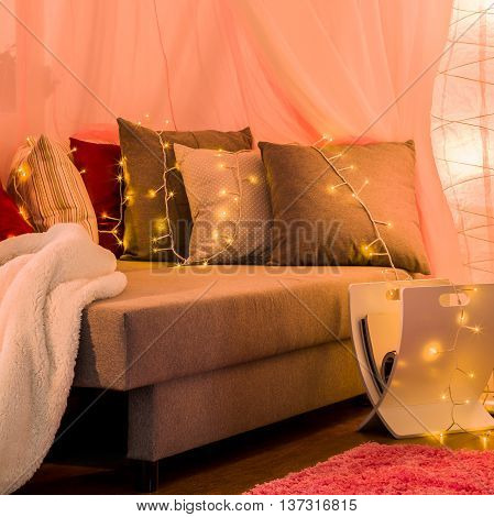 Stylish Bed With Decorative Lighting