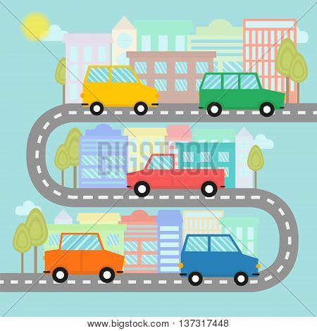 Road with cars and houses with trees in flat style. Automobile trip in city. Urban landscape