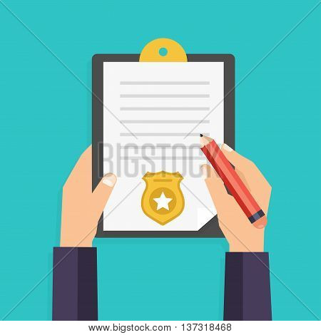Hand holding clipboard with checklist and pen for police report. Traffic parking fine citation crime report problems with police subpoena concepts. Vector illustration.