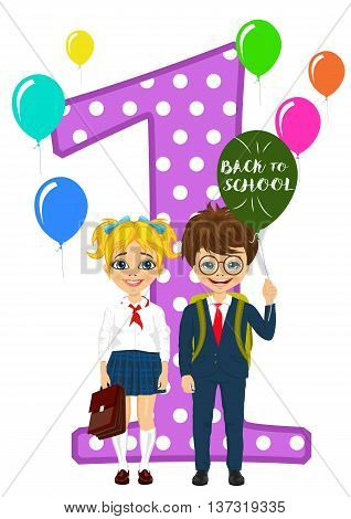 little schoolgirl and schoolboy in school uniform holding balloons with back to school text standing next to number one on white background