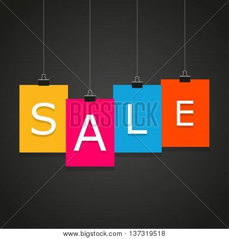 Banner Black Friday. Sale. Four multi-colored sheet of paper