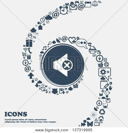 Mute Speaker Sign Icon. Sound Symbol In The Center. Around The Many Beautiful Symbols Twisted In A S