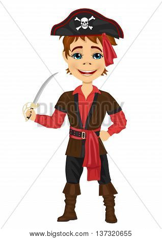 Cute kid in pirate costume holding a sword isolated on white background