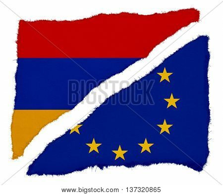 Armenian And Eu Flag Torn Paper Scraps Isolated On White Background