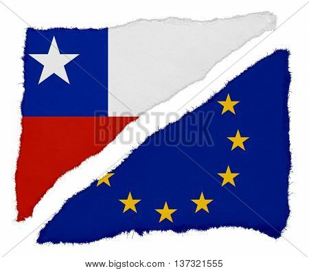Chilean And Eu Flag Torn Paper Scraps Isolated On White Background