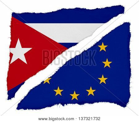 Cuban And Eu Flag Torn Paper Scraps Isolated On White Background