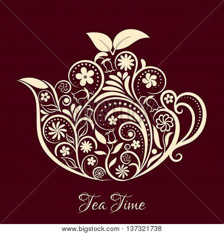 Vector Beige Floral Ornamental Teapot Over Dark Brown. Zen art teapot style. Element for menu, cafe, restaurant, bar and tea house designs. Beige teapot flower design