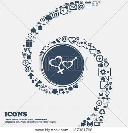 Male And Female Sign Icon In The Center. Around The Many Beautiful Symbols Twisted In A Spiral. You