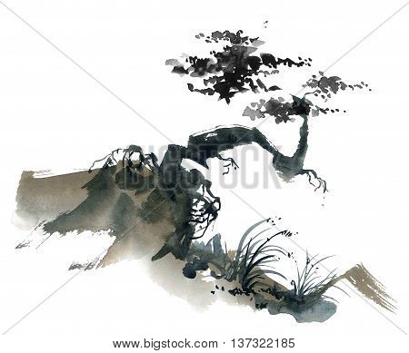Watercolor and ink chinese landscape with trees. Sumi-e u-sin gohua painting.