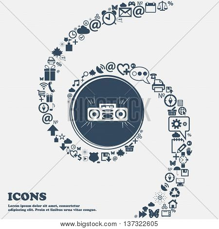 Radio Cassette Player Sign Icon In The Center. Around The Many Beautiful Symbols Twisted In A Spiral