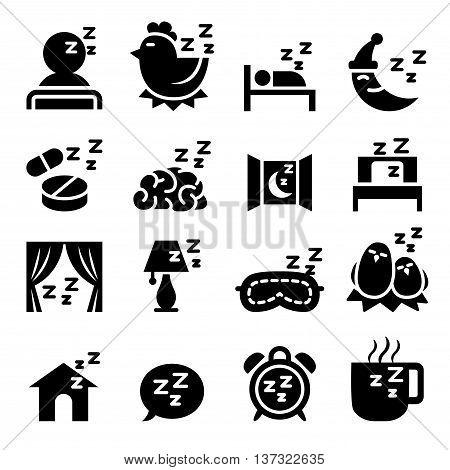 Sleep icon set Vector illustration Graphic design