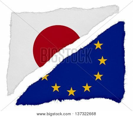 Japanese And Eu Flag Torn Paper Scraps Isolated On White Background
