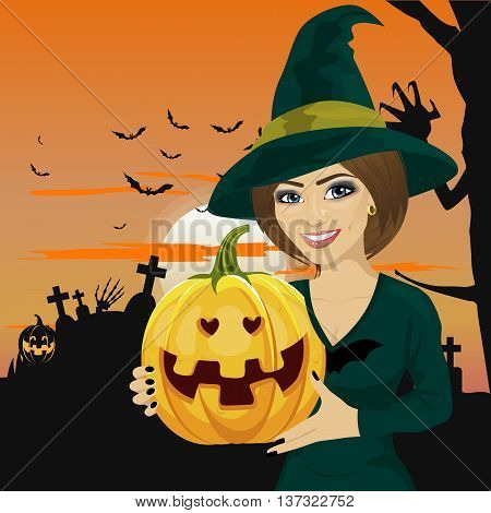 Young woman dressed like a witch wearing dark clothing and holding pumpkin in hand over greeting card with pumpkins, bats and tombstone