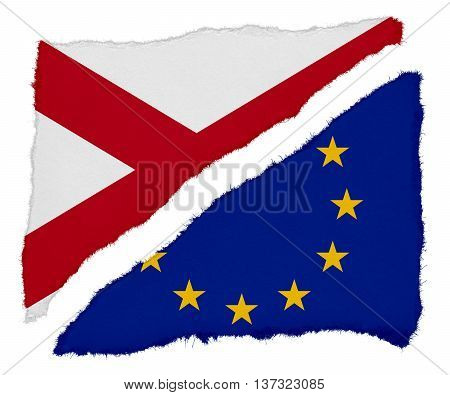 Northern Ireland And Eu Flag Torn Paper Scraps Isolated On White Background