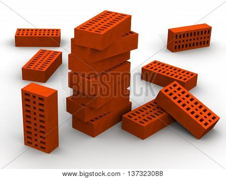 Orange ceramic bricks. Several orange ceramic bricks stacked on a white surface. Isolated. 3D Illustration