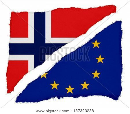 Norwegian And Eu Flag Torn Paper Scraps Isolated On White Background
