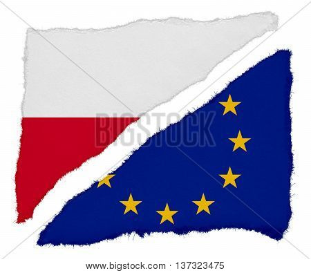 Polish And Eu Flag Torn Paper Scraps Isolated On White Background