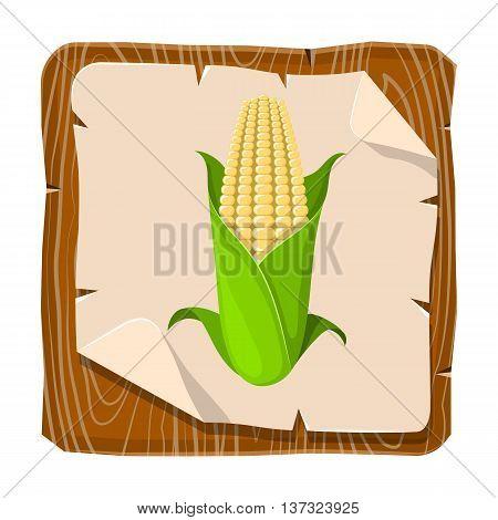 Corncob vector illustration. Vector illustration in cartoon style