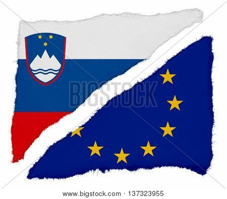 Slovenian And Eu Flag Torn Paper Scraps Isolated On White Background