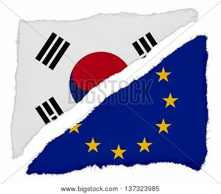 South Korean And Eu Flag Torn Paper Scraps Isolated On White Background