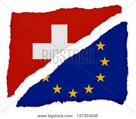 Swiss And Eu Flag Torn Paper Scraps Isolated On White Background