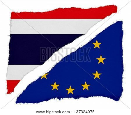 Thai And Eu Flag Torn Paper Scraps Isolated On White Background