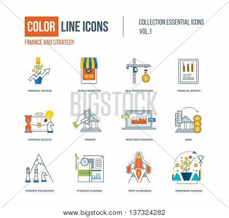 Color thin Line icons set. Logo and pictograms for websites, banners, infographic illustrations. Financial strategy, mobile marketing, strategic planning, investment, start-up, strategy for success