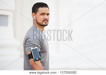 Runner Listening To Music While Exercising