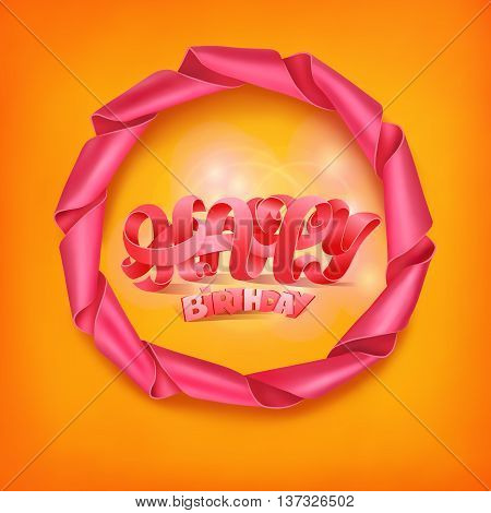 Happy birthday title in ribbon round frame. Vector illustration